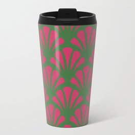 Kelly Green and Fuchsia Deco Fan Travel Mug