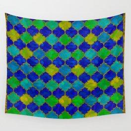 Ocean Breeze -Watercolor Moroccan Lattice Wall Tapestry