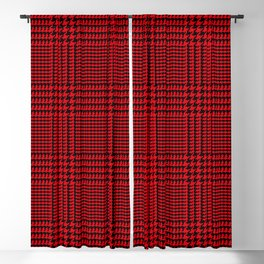 Red and Black Houndstooth Plaid. Large-Scale Glen Plaid Style Pattern. Blackout Curtain