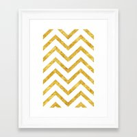 gold foil Framed Art Prints featuring Gold Foil Chevron by NeoQlassical
