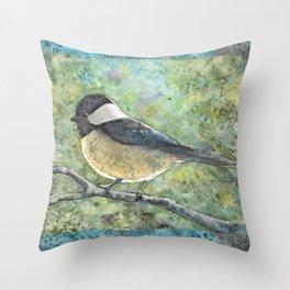 Watercolor Chickadee Throw Pillow