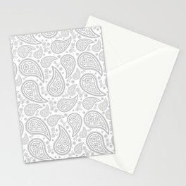 Paisley (Gray & White Pattern) Stationery Cards