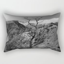 Withered Tree on top of Mountain Range, Big Bend - Landscape Photography Rectangular Pillow