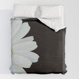 Hello Daisy - White Flower Black Background #decor #society6 #buyart Duvet Cover