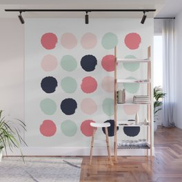 Painted dots trendy color palette minimal polka dots decor nursery home Wall Mural