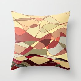 Gold Waves Throw Pillow
