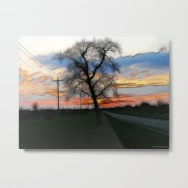 The Sunset Into Watercolor Metal Print