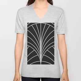 Round Series Floral Burst White on Charcoal Unisex V-Neck