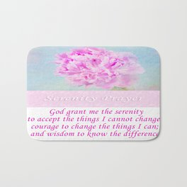 Serenity Prayer With Pink Peony Bath Mat