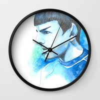 spock Wall Clocks featuring Spock by Maria Bruggeman