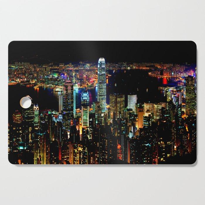 Hong Kong City Skyine Black Night Cutting Board