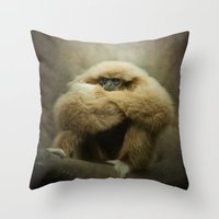 study Throw Pillows featuring Study of a Gibbon - The Thinker by Pauline Fowler ( Polly470 )