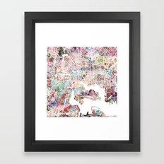 Baltimore map flowers Framed Art Print