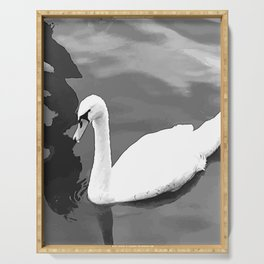 Duck in the water 3. duck. ducks. swan. swans. sea. beach. Serving Tray