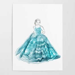 Girl In Teal Alcohol Ink Ball Gown Poster