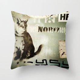 wall cat Throw Pillow