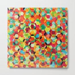 Colorful Half Hexagons Pattern #04 Metal Print