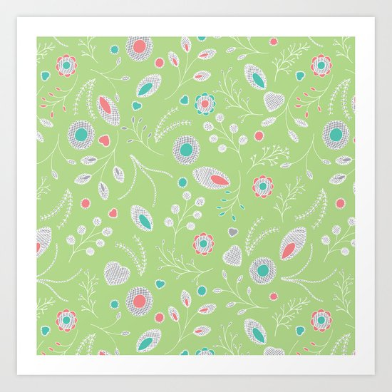 Lacey Flowers Art Print