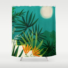 Tropical Moonlight / Night Scene Illustration Shower Curtain