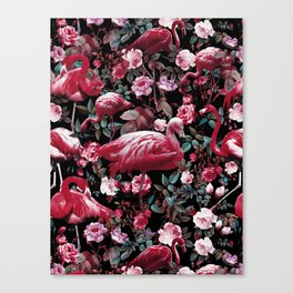 Floral and Flamingo VIII pattern Canvas Print