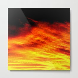 Black Yellow Red Sunset Metal Print