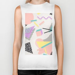 80s / 90s RETRO ABSTRACT PASTEL SHAPE PATTERN Biker Tank