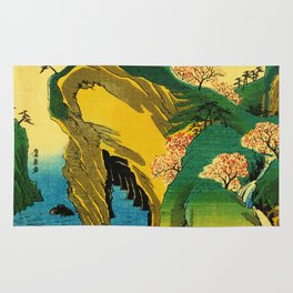 Cherry Blossom Trees on Japan Cliff Rug