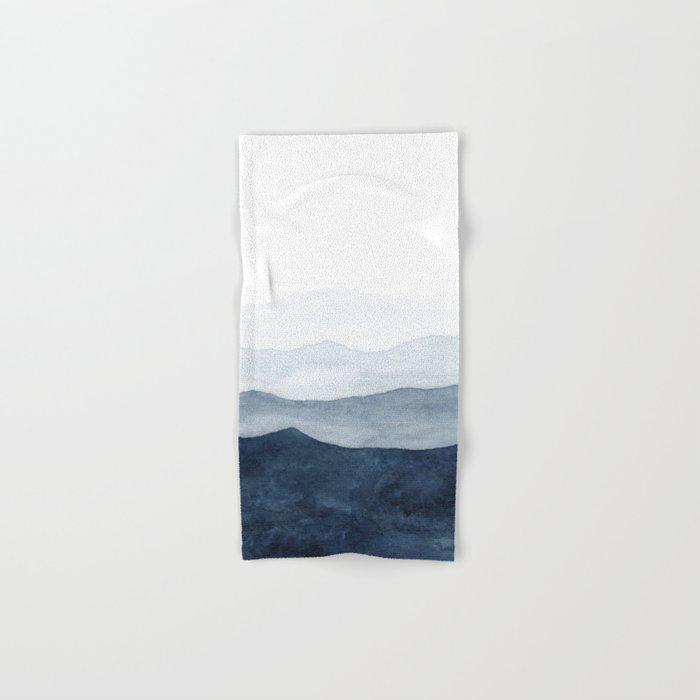 Indigo Abstract Watercolor Mountains Hand & Bath Towel