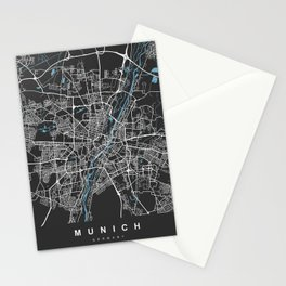 Munich Map Germany   Black & Blue   More Colors, Review My Collections Stationery Cards