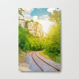Railroad track diminishing perspective in forest along the cliff Metal Print
