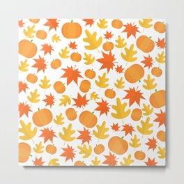 Colorful leaves and pumpkins Metal Print