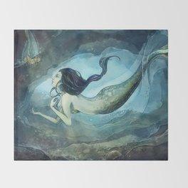 mermaid treasure Throw Blanket