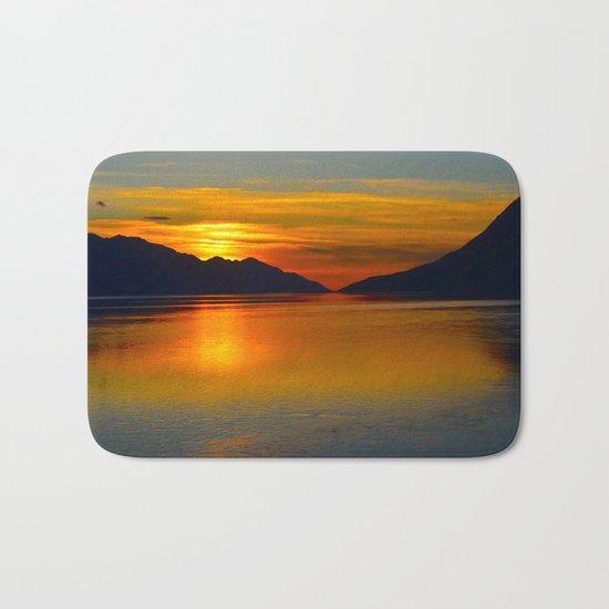 Alaskan Sunset Silhouette - Turnagain Arm Bath Mat