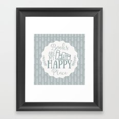 Books Are My Happy Place - Blue Framed Art Print