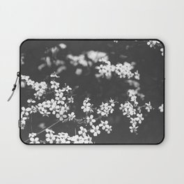 Little White Wildflowers Black and White Photography Laptop Sleeve