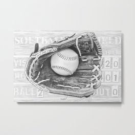 Softball (black and white) Metal Print