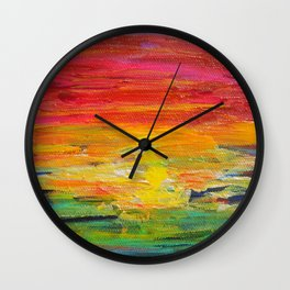 Ombre Rainbow Sunset Wall Clock