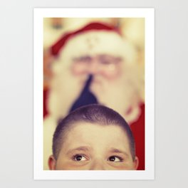 Cute Kids anticipating Santa Claus Art Print