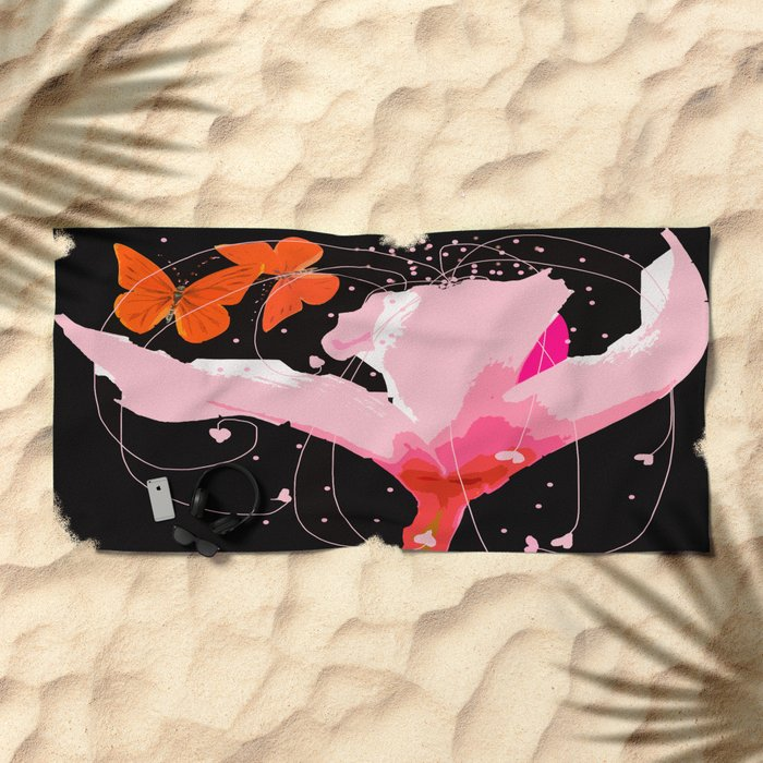 Creativity play - butterflies and flowers on a black background Beach Towel