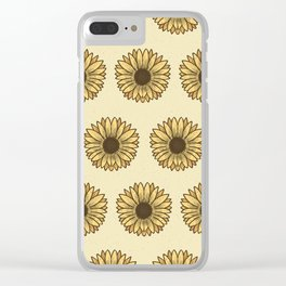 Retro Pop Sunflowers x Pastel Yellow Clear iPhone Case