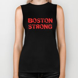Support BOSTON STRONG Red Grunge Biker Tank