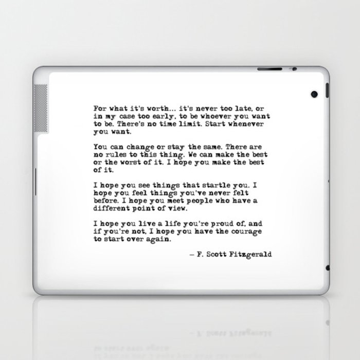 For what it's worth - F Scott Fitzgerald quote Laptop & iPad Skin