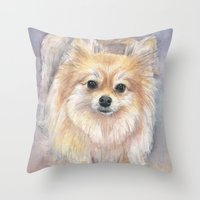 pomeranian Throw Pillows featuring Pomeranian Watercolor Pom Painting by Olechka