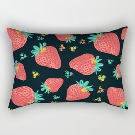Strawberries | Black Rectangular Pillow