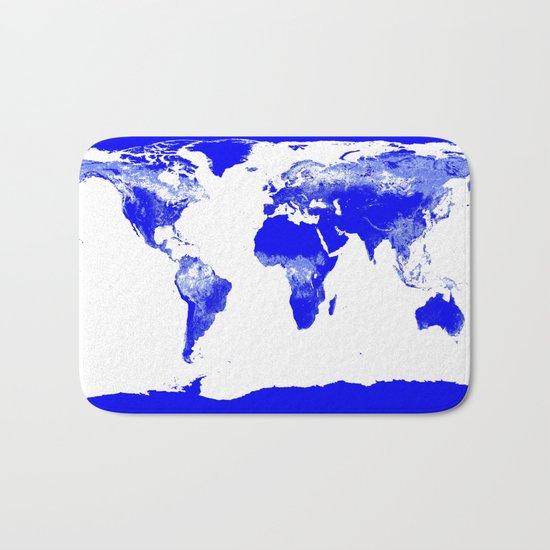 World map Blue Bath Mat