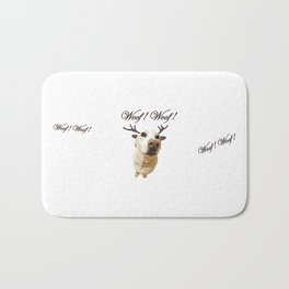 Deer dog woof Christmas childrens brown white decor quotes society6 comic Bath Mat