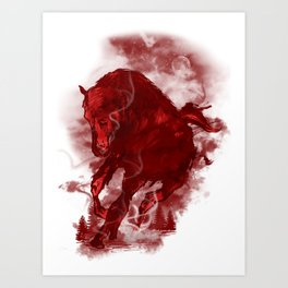 RED STALLION Art Print