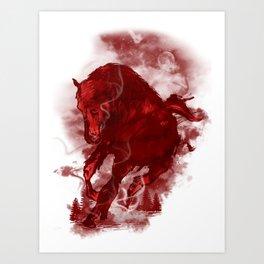 RED STALLION Art Print