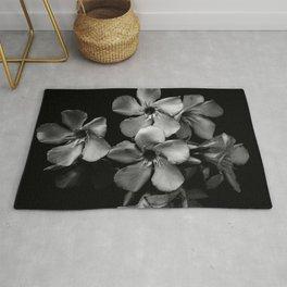 Oleander flowers in black and white Rug
