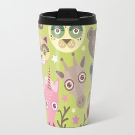 funny animals muzzle seamless pattern, Green background with stars. Vector illustration Travel Mug